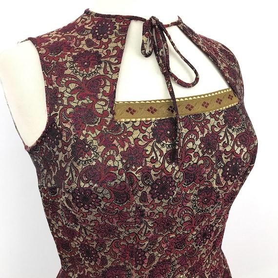 1950s dress red gold brocade wiggle dress party dress 50s bolero cut out back UK 14 oriental style bombshell pin up rockabilly