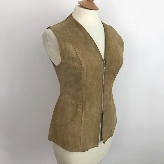Suede waistcoat, vintage suede vest, cream suede leather, longline, 1970s waist coat, 70s,hippie, boho, beige suede, zip front, UK 12