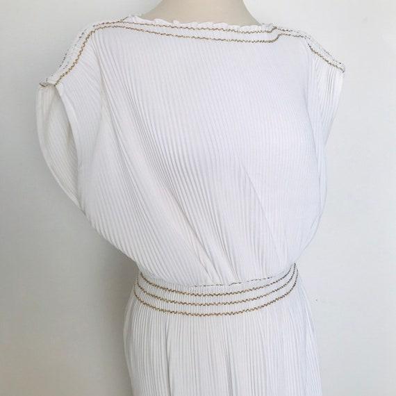 Maxi dress, vintage dress,grecian,white dress,avant garde pleated long, column dress,bridal,dramatic,elasticated,gold UK 14,16,evening