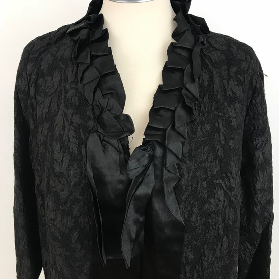 Victorian mourning coat, black jacket, original Victoriana, woven silk wool, rinbon trim, longline, loose, UK 10, 12, steam punk, goth, folk