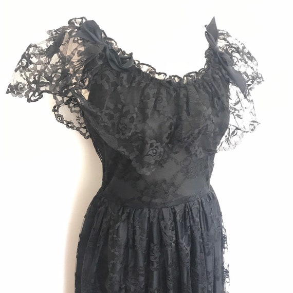 Off shoulder dress, Vintage dress, 1980s lace dress, goth, gypsy peasant frock black lacy bardot 50s style UK 10, gothic folk,