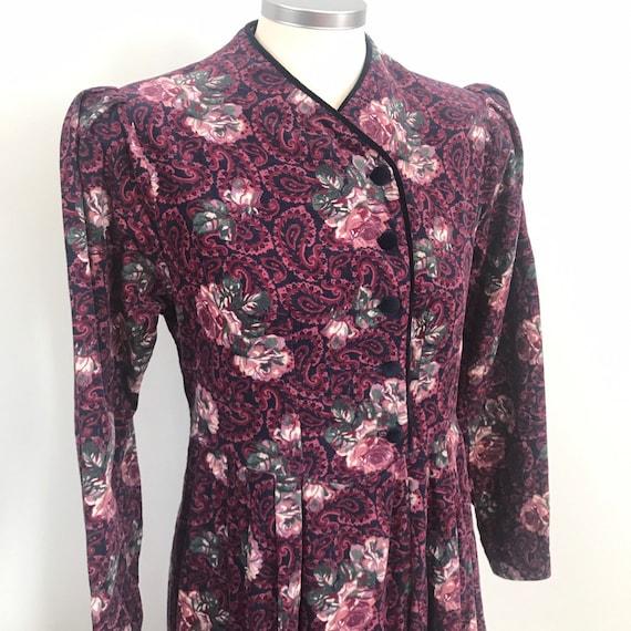 Vintage corduroy dress,unlabelled Laura Ashley dress,paisley,cotton cord,historical,LARP,UK 8 10,steam punk historical,prairie