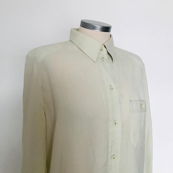 Vintage shirt,greige shirt,button down collar,Mod,avant garde,80s blouse,UK 14,40s style,utility,utilitarian,1980s