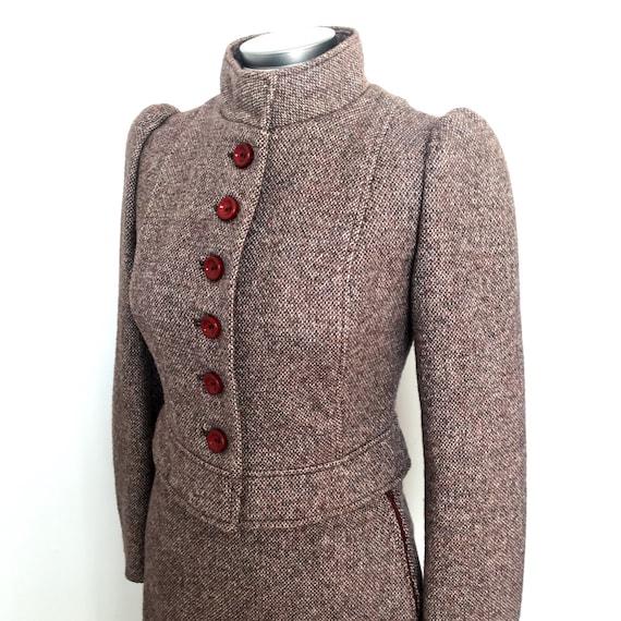 vintage suit,70s does 20s,1910s,Edwardian,Biba style,plaid,tweed,wool,winter suit,1970s suit,UK 10,skirt,jacket,steampunk,A line,Mod,