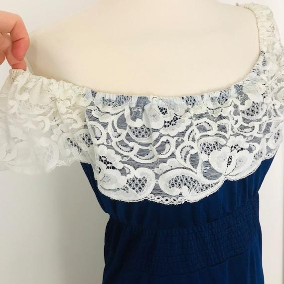 1970s dress, vintage dress, lace, off shoulder, navy, maxi dress, cold shoulder, prairie, long Flared skirt, elasticated, boho peasant gypsy