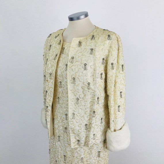 1950s dress beaded long shift and jacket, UK 8, UK 10, off white, sequin dress, pin up, bridal, fur trim, evening wear, 50s cocktail,sparkly