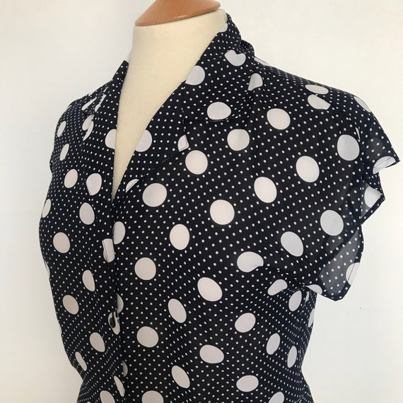 Vintage blouse,1980s shirt,spotty, shirt,chiffon,sheer,80s top,navy blue,white spot print,blue shirt,80s does 50s,10,
