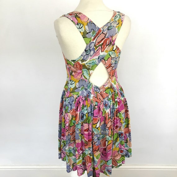 vintage dress crossover backless midi dress floral print viscose full skirt back sundress mom dress abstract vintage UK 12 size 14