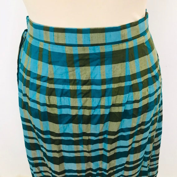 Vintage plaid skirt, long skirt, tafetta, blue and green, tartan, high waist, Renjoy, 1970s, rayon, mary poppins, 26