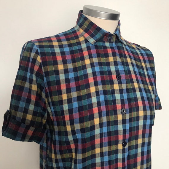 Vintage shirt,checkered cotton blouse,blue plaid,vintage top,UK 10,cheesecloth,rainbow, Northern Soul,Mod shirt,scooter girl