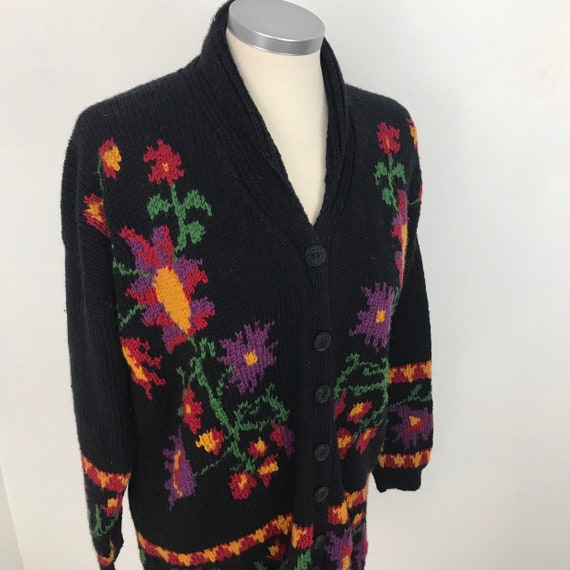 Vintage cardigan, hand knit, wool, coatigan, intarsia, prairie, shawl collar, hand knitted jacket, UK 12, handmade, floral knit, long line,