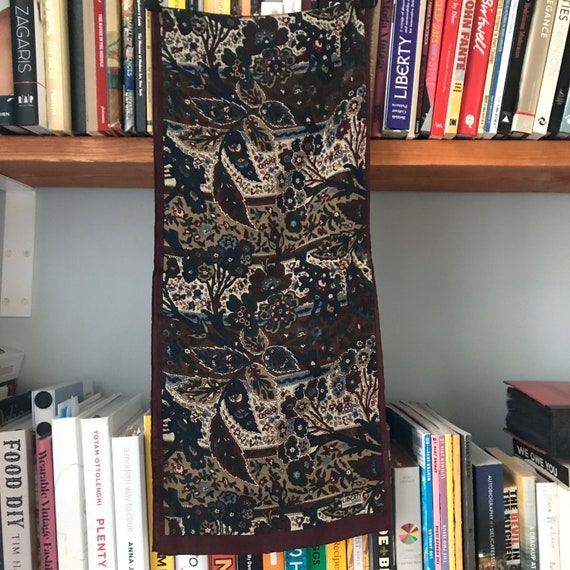 vintage Liberty of London, silk scarf, long scarf, Paisley print,dark red,headscarf, rectangle, Liberty Scarf, neckerchief, 1980s, chintz