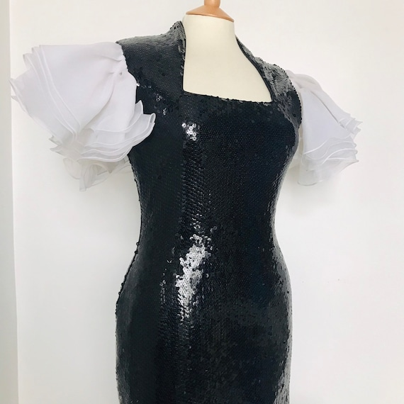 Vintage evening dress,black dress,sequin dress,hourglass,burlesque,pin up,red carpet,Frills,white,UK 14,fishtail,80s,glam,drag,