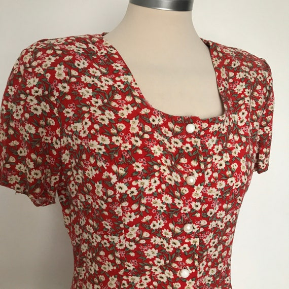 Vintage jumpsuit,playsuit,swing dance,1980s,ditsy print,floral print,red jumper,all in one,80s does 40s,UK 8,shorts