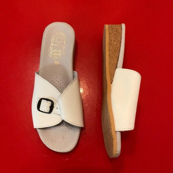 Worishofer shoes, Vintage slip ons, leather sandals, vintage wedgies, cork wedges, buckle up, slip on, mules, white sandals, UK 6, 39