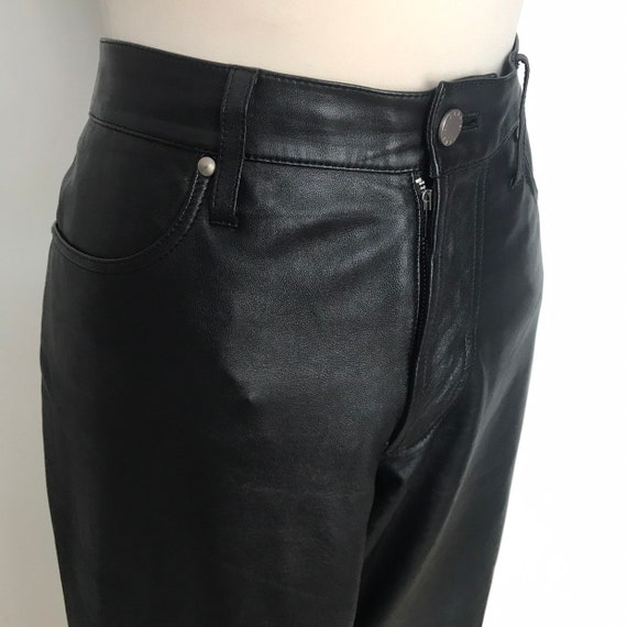 Vintage leather pants,High waisted,leather trousers,90s,vintage Daks,UK 12, mens M, Mom pants, black jeans
