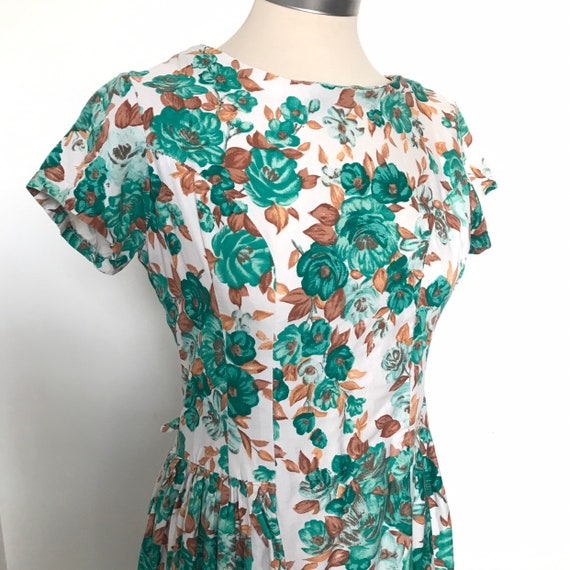 Vintage cotton dress, 1960s dress, floral print, UK 10, late 1950s dress, handmade, wedding guest, flowery, cotton dress
