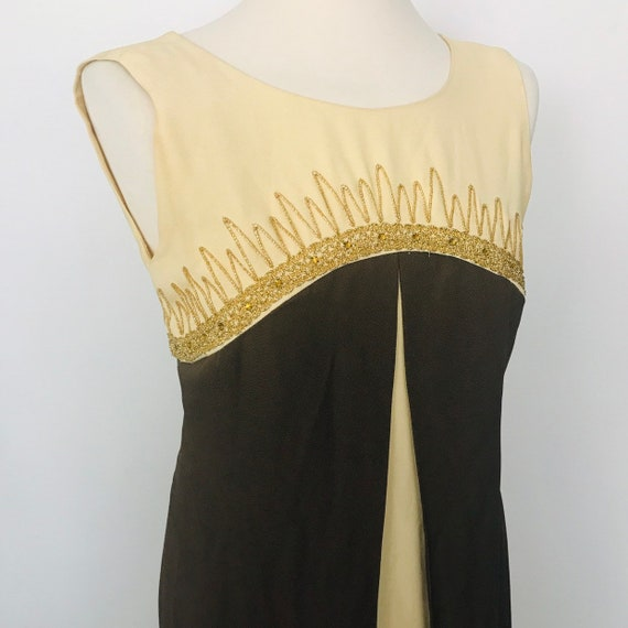 Maxi dress, 1960s, long 60s dress, brown dress,evening dress, crepe dress, gold sparkly, UK 6, 8, sleeveless, faux split, jackie O