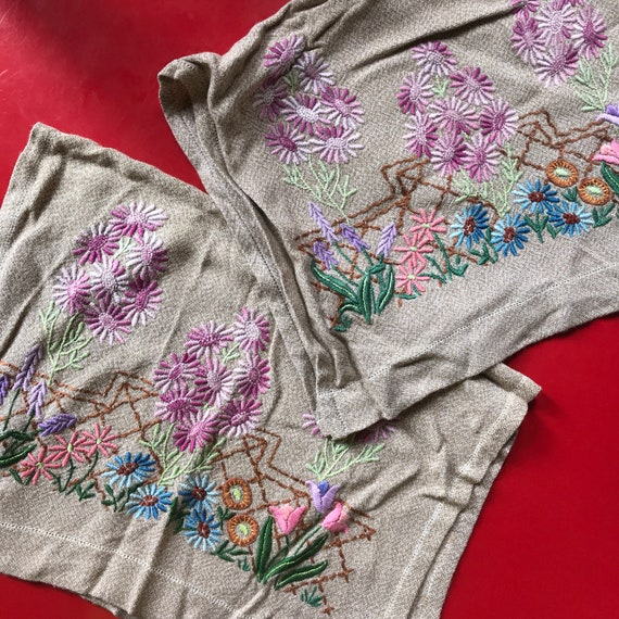 1930s embroidery, chair arm covers, boudoir, 30s embroidery, english country garden, chair covers, vintage home, homewares, vintage gift,