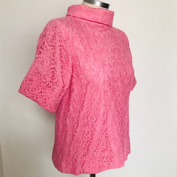 1960s top,vintage top,vintage lace,pink top, lace tunic,zip back,half sleeves,UK 10,12,scooter Girl Mod vintage wedding,50s,60s blouse