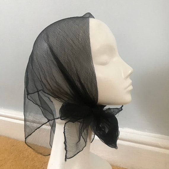 1950s scarf,black scarf,sheer nylon,goth,nylon chiffon,50s pin up rockabilly,1950s,chiffon square