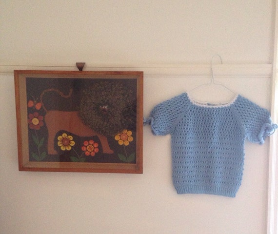 1950s style handknit gypsy top knitted tee 7 8 girls vintage