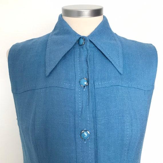 Vintage dress,UK 10,shift dress,Mod,dagger collar,sky blue,shirt dress,pleated,1960s,linen,70s,sleeveless,GoGo,scooter