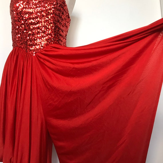 Vintage jumpsuit,1970s jumpsuit,80s jumper,red,disco,vintage sequins,boob tube,studio 54, festival, sparkly party,UK 12, 10