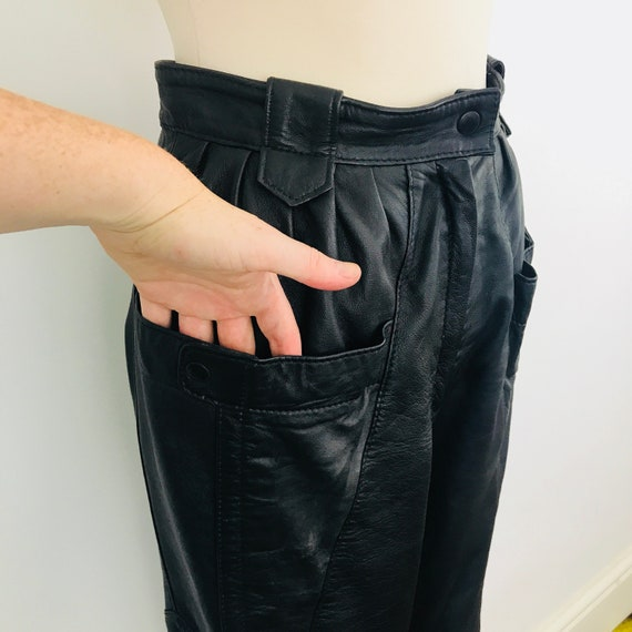 Vintage leather trousers, leather pants, black leather, High waisted, peg leg, 1980s, 80s pants, Mom pants, size 10, black leather