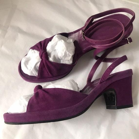 Vintage pumps,purple sandals,suede shoes purple suede,magenta,1940s style,block heel, UK5,EU 38,US 7,40s 30s look,peep toes,strappy,Hobbs