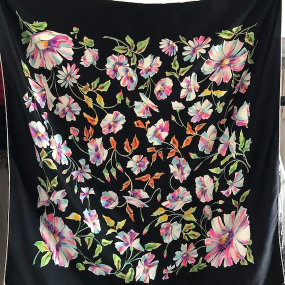 Vintage scarf,silk scarf,silk square,hot pink,white hand rolled hem,1940s turban,landgirl,floral,40s scarf,black scarf