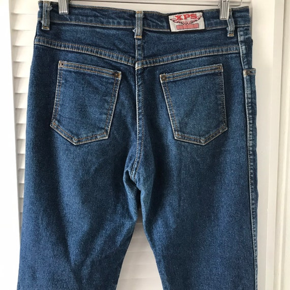 Vintage jeans,1970s jeans,dark blue denim, straight leg,high waisted,stretch,80s pants, straight cut, 34 waist,XPS,uk 12,curvy,disco