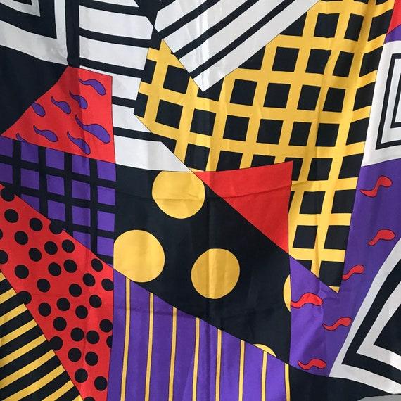 Silk Scarf,1980s print,vintage silk scarf,novelty print,polka dot,striped,80s glam,square, vintage scarves, hand rolled