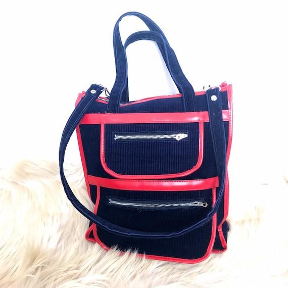 70s bag, vintage bag, vintage shopper,vintage corduroy,vinyl, tote, cord bag, 1970s hippy, blue, red