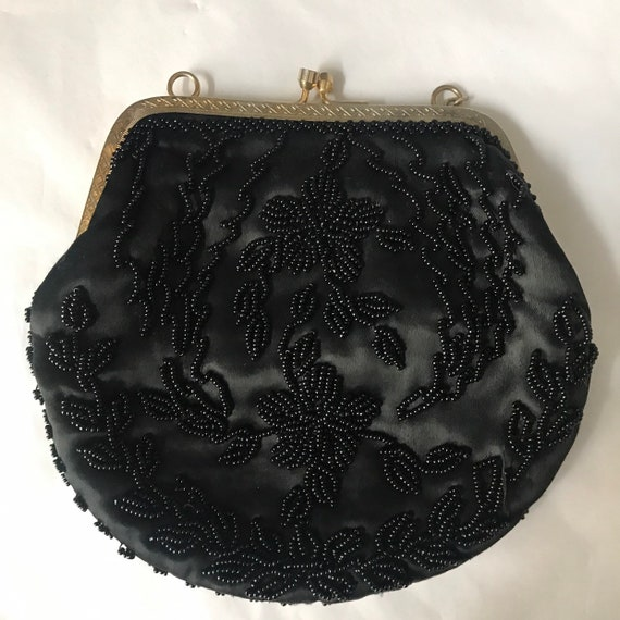 Vintage handbag,small evening purse,black,damaged,beaded purse handbag,chain bag,wedding,bridesmaid,goth,gold,beading