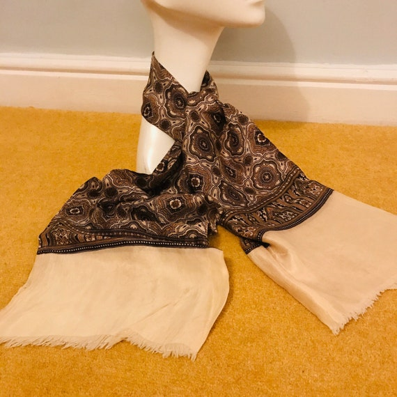 Vintage gents scarf, silk, gentlemans cravat, menswear scarf,yellow,brown,long Mod neckerchief hug hefner paisley