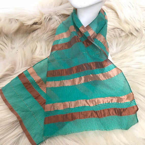 1940s scarf striped woven chiffon green bronze stripes trim fringe neck tie evening scarf 40s stripey
