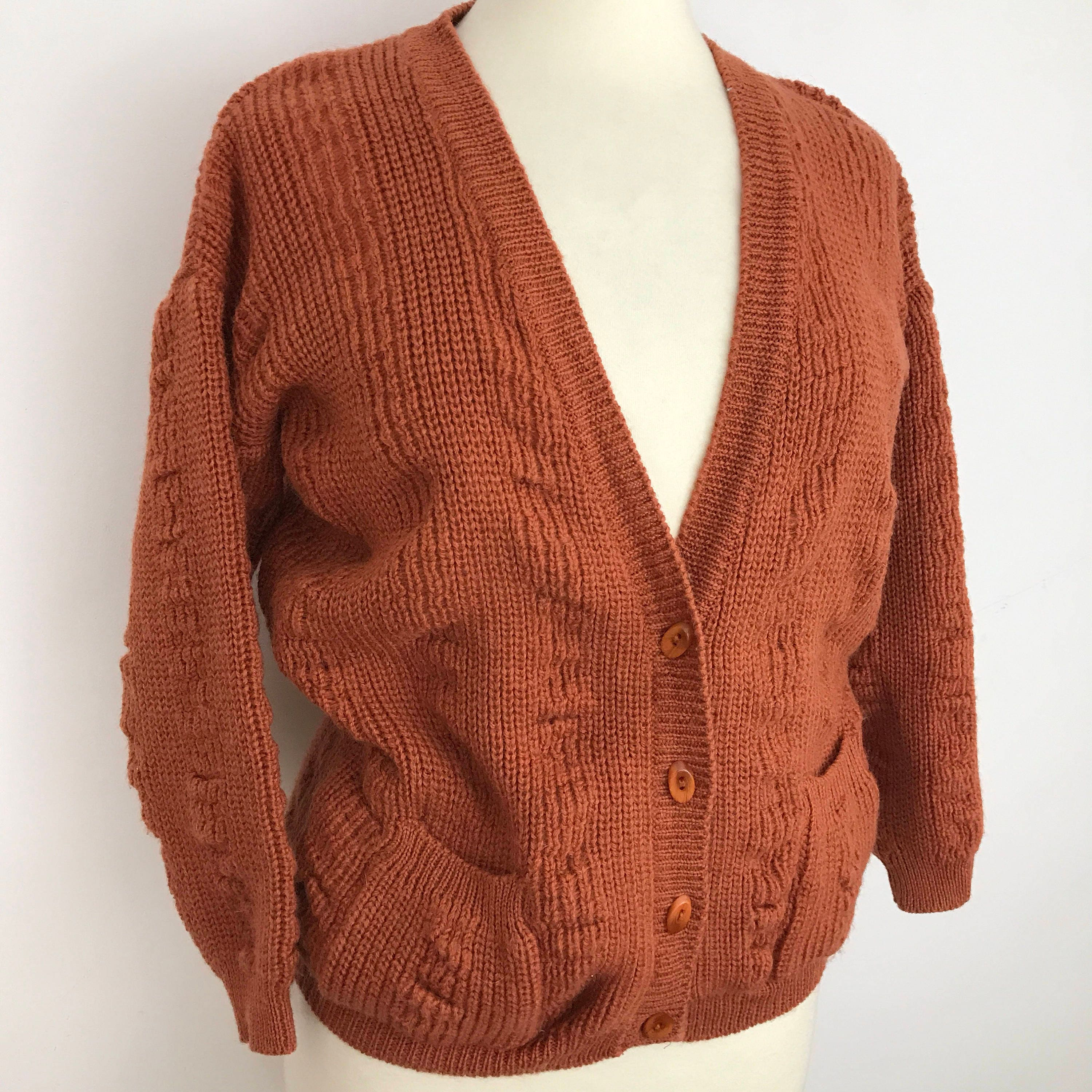 11ffbda202 Vintage pure wool cardigan chunky knitted sweater V neck jacket knit ...