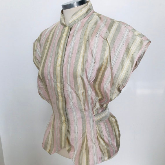 Vintage blouse,mandarin collar,1950s style,shantung silk look,80s does 50s,striped,short sleeves,evening shirt,1980s,UK 14,stripey
