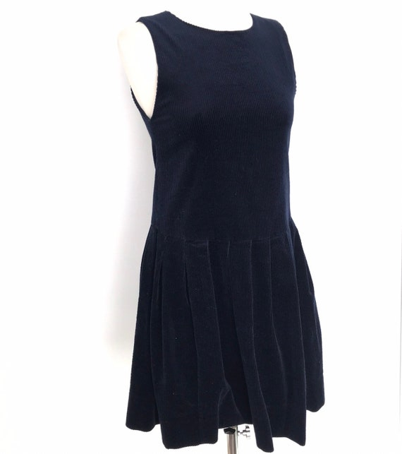 Vintage Laura Ashley, vintage pinafore dress,corduroy,cotton cord, mini dress,drop waist,petite,UK 6 8,pinny,navy blue,age 9,blue corduroy
