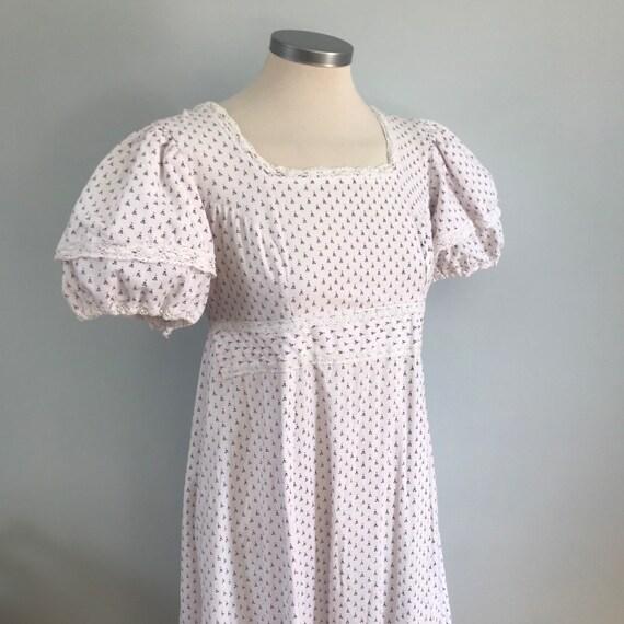 vintage Laura Ashley,Jane Austen,Bronte,wedding dress,chintz,regency style,empire line,size 8,10,boho, hippie,1970s,prairie