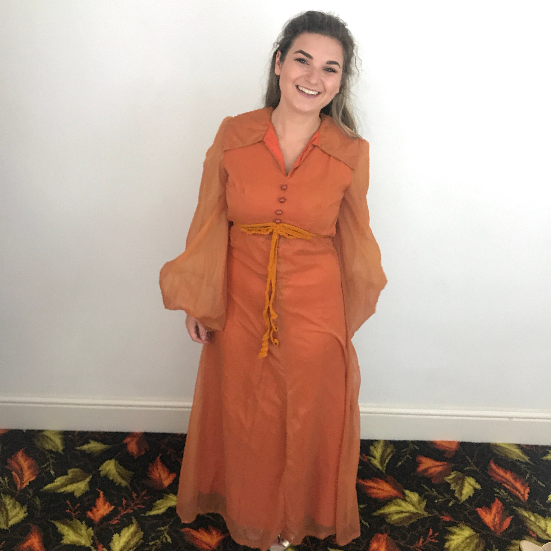 0d1c6219ac42f Burnt Orange Chiffon Maxi Skirt