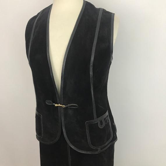 Suede waistcoat, suede suit, vintage ladies suit, black leather, A line skirt, 1970s vest, 70s,hippie, boho leather trim UK 14,