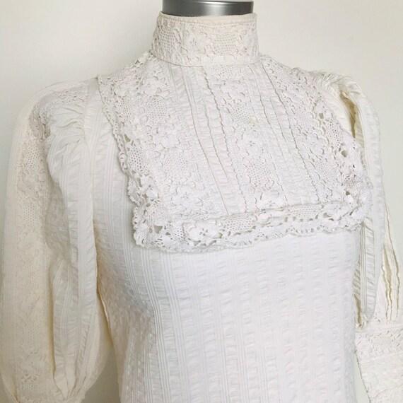 Vintage blouse,vintage Laura Ashley,victorian style,cream cotton,victoriana,prairie,steam punk,crochet,1970s,boho,UK 8,Biba style