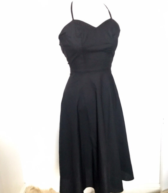 Vintage dress,black dress,cotton dress,1950s style,80s does 50s,flared skirt,rock n roll UK 6 50s,Grease,Jinty,petite