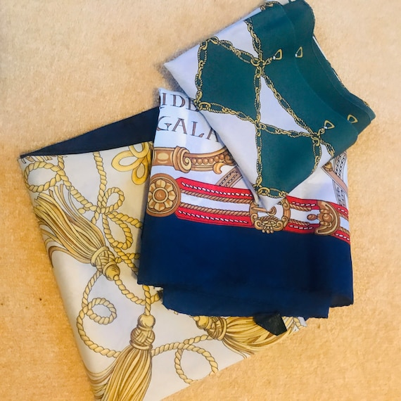 Vintage scarf,scarf lot, 3,bridles,1970s,Italian style,gold chains,glam,1980s,70s,scarves, satin nylon, polyester, vegan, accessory, gift