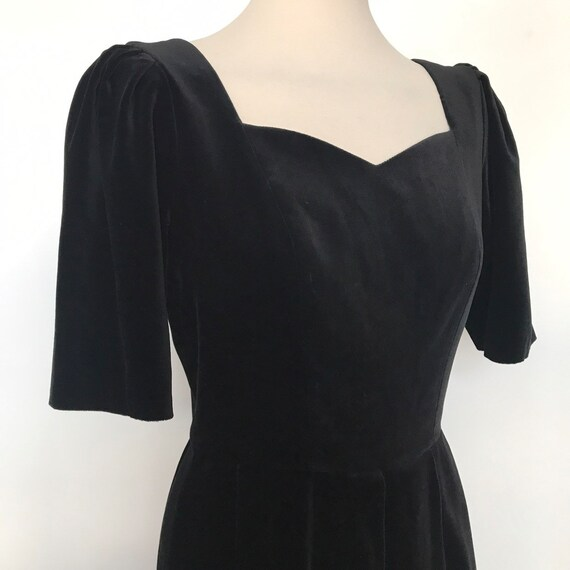 Vintage dress, Laura Ashley, velvet dress,black velvet,flares dress,halloween,cotton velvet,goth girl,prairie goth,button back,UK 10,gothic