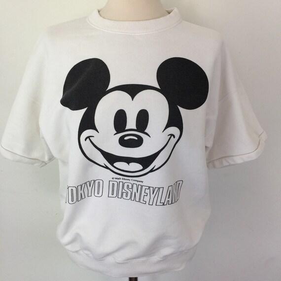 Vintage Disney sweatshirt Tokyo Disneyland memorabilia top white Mickey Mouse sweater short sleeve tracktop medium unisex