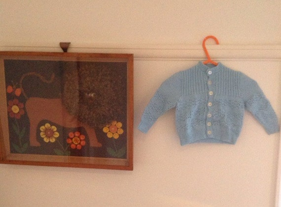 1940s 50s hand knitted baby cardigan sky blue vintage traditional 6M