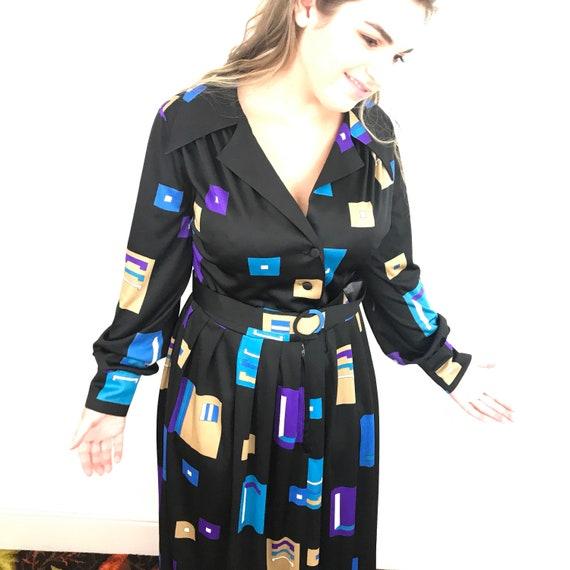 Maxi dress, shirt dress, long, geometric print, shirtdress, dagger collar, bold print, UK 14 16, black dress, 1970s dress, 70s, vintage, max